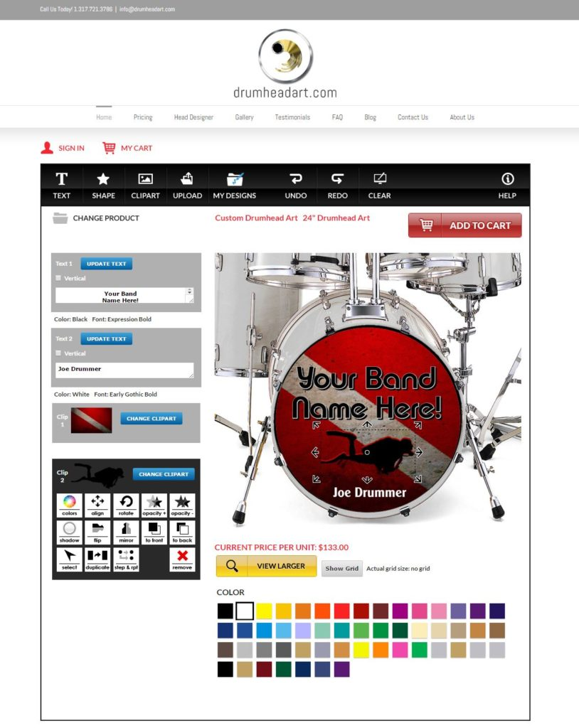 DrumheadArt dot com interface